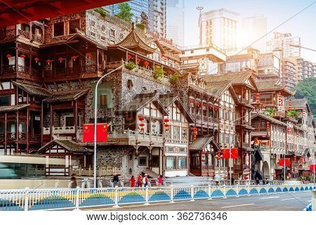 Roads And Famous Ancient Buildings: Hongyadong, Chongqing, China.