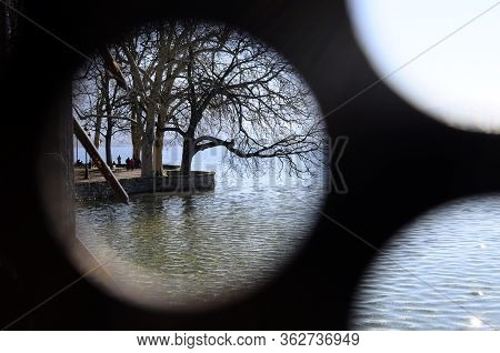 Annecy Lake Through Hole In A Wall, Annecy City, Savoy, France
