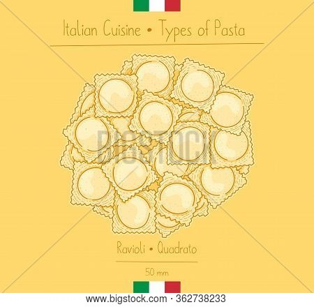 Italian Food Square Pasta With Filling Aka Ravioli Quadrato, Sketching Illustration In The Vintage S