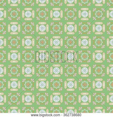 Portuguese Style Ceramic Tile Green Seamless Pattern. Mediterranean Lisbon Street Wall Tiles Vector
