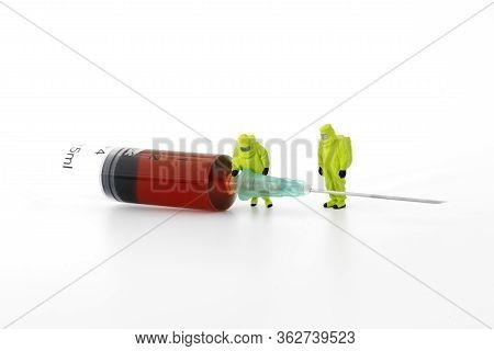 Blood Test Syringe With Small Characters On White