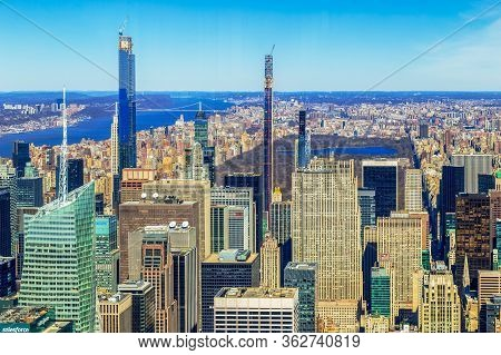 New York, Usa - July 9, 2020: View From The Empire State Building With Midtown And Lower Manhattan I