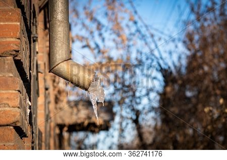 Frozen Water Flowing From A Caterer On A Street In Ulan Ude, The Capital Of The Buryatia Republic, S