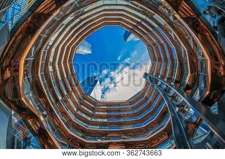 New York, Usa - March 8, 2020: The Vessel, Project By Architect Thomas Heatherwick, Also Known As Hu