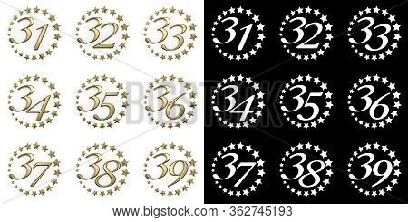 Set Of Numbers From Thirty-one To Thirty-nine. Anniversary Celebration Design With A Circle Of Golde