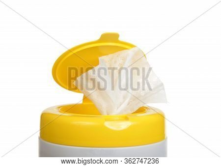 Close Up On Top Of A Pop Up Disinfecting Wipes Container, Isolated On White.