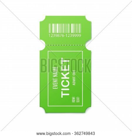 Mockup Of Green Admit Event Ticket, 3d Realistic Vector Illustration Isolated.