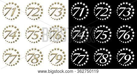 Set Of Numbers From Seventy-one To Seventy-nine. Anniversary Celebration Design With A Circle Of Gol