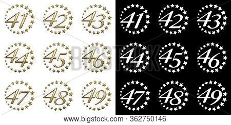 Set Of Numbers From Forty-one To Forty-nine. Anniversary Celebration Design With A Circle Of Golden