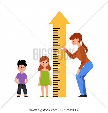 Kindergarten Or Preschool Children Measure Height Vector Illustration Isolated.