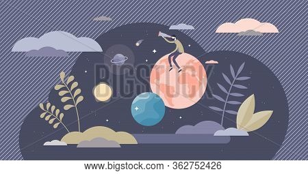 Exploring Life Vector Illustration. Research Lifestyle Flat Tiny Person Concept. Discover New Exciti