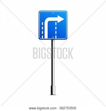 Blue Turn Right Road Sign With White Arrow Turning At The End Of The Lane