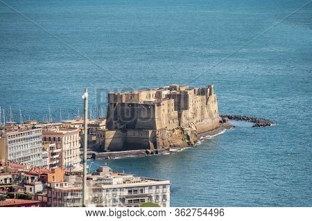 Aerial View Of Egg Castle, Castel Dellovo, In The Gulf Of Naples, Italy.