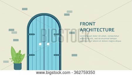 Front Door Architecture Banner Template With Round Top Arched Doorway