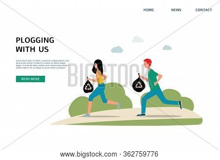 Plogging Banner Template - Cartoon Runners Jogging And Picking Up Litter
