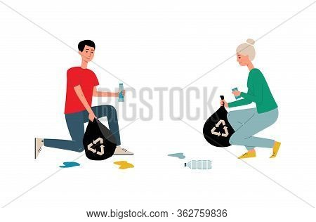 Cartoon Couple With Recycling Trash Bags Cleaning Litter Garbage