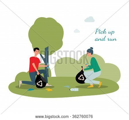 Plogging - Pick Up And Run Poster With People Cleaning Litter