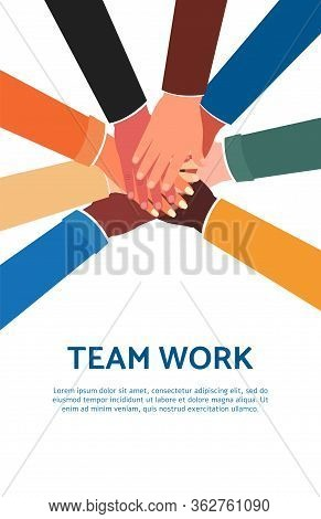Team Work Poster Template With Cartoon People Joining Hands Together