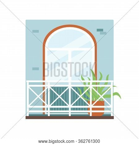 Fragment Of Building Facade With Comfy Balcony Flat Vector Illustration Isolated.