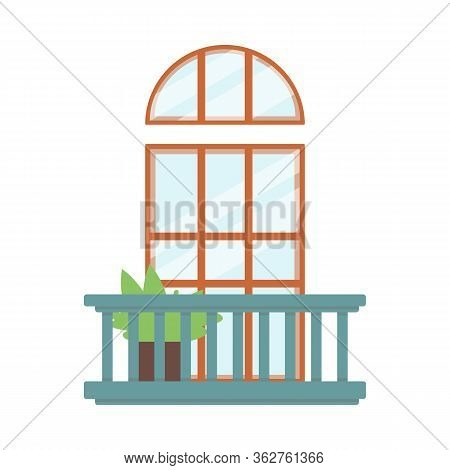 Balcony Decor With Wooden Doorway And Plant Flat Vector Illustration Isolated.