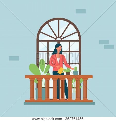 Cartoon Woman On Balcony With Arched Window Watering House Plants