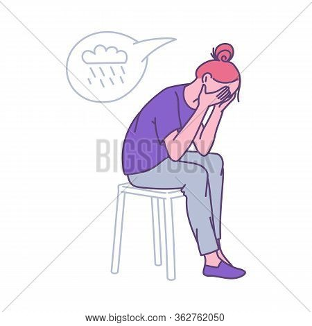 Depressed Lonely Woman Clasping Her Head, Cartoon Vector Illustration Isolated.