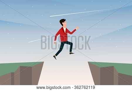 Cartoon Man In Business Suit Jumps From One Rocky Cliff To Another. Creative Vector Illustration For