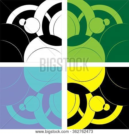 Abstract Symmetric Geometric Patterns. The Color Background Is Distinguished By The Use Of An Approp