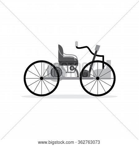 Vintage Automobile Or Old Car First Vehicle, Flat Vector Illustration Isolated.