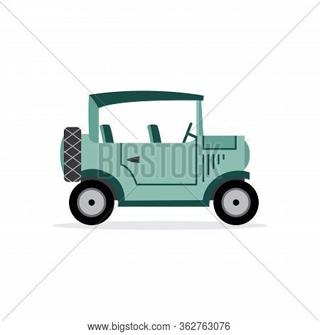 Vintage Automobile Or Old Car Cartoon Icon Flat Vector Illustration Isolated.