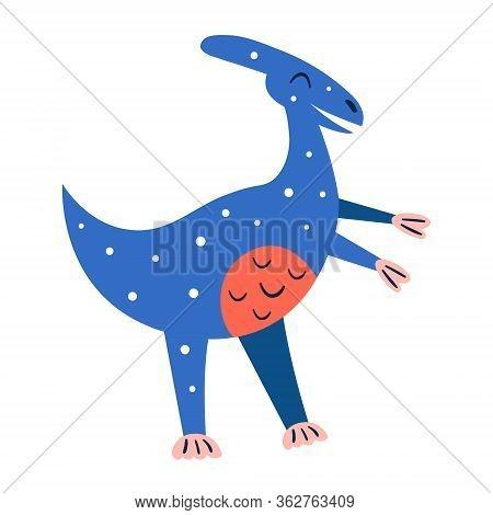 Little Cute Blue Parasaurolophus. Prehistoric Animals. Jurassic World. Paleontology. Reptile. Archeo