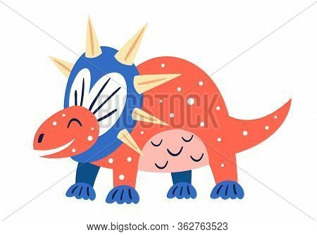 Little Cute Red Triceratops. Prehistoric Animals. Jurassic World. Paleontology. Reptile. Archeology.
