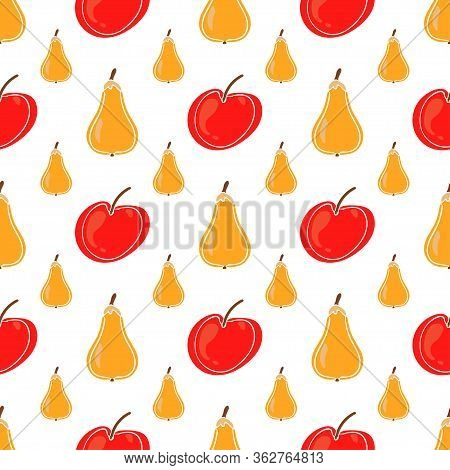 Pear Fruit And Apple Color Vector Seamless Pattern. Simplified Retro Illustration. Wrapping Or Scrap