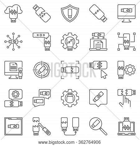 Damaged Usb Flash Drive Outline Icons Set. Vector Broken Usb Memory Stick Concept Linear Symbols Or
