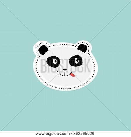 Cartoon Panda Sticker - Cute Animal With Tongue Out And Playful Face