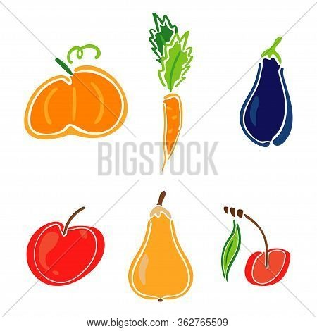 Color Garden Icon Set - Spikelet, Pumpkin, Pear, Apple, Cherry, Carrot, Zucchini. Simplified Retro I