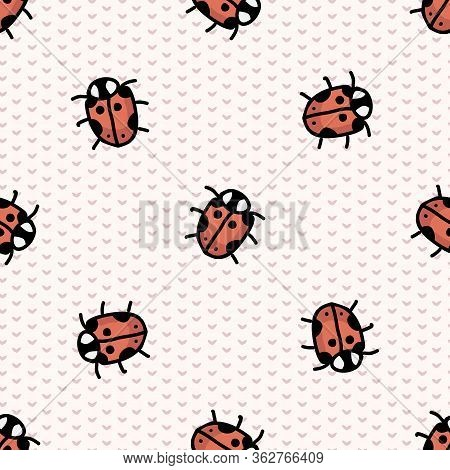 Cute Scattered Ladybug Seamless Vector Pattern. Hand Drawn Biology Garden Wildlife For Stay Home Ill