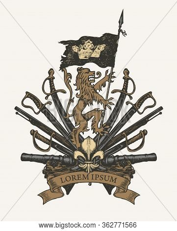 Vector Heraldic Coat Of Arms In Vintage Style With Lion, Flag, Crown, Sabers, Swords, Cannons, Fleur