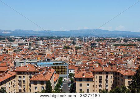 City Panorama Of Perpignan Buildings