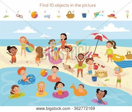 Find 10 Objects In The Picture. Puzzle Hidden Items. Group Of Kids Having Fun On The Beach. Vector I