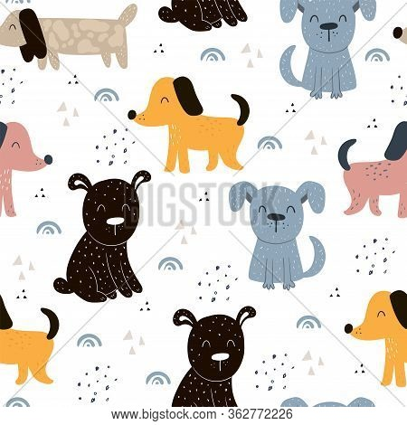 Childish Seamless Pattern With Hand Drawn Dogs. Trendy Scandinavian Vector Background. Perfect For K