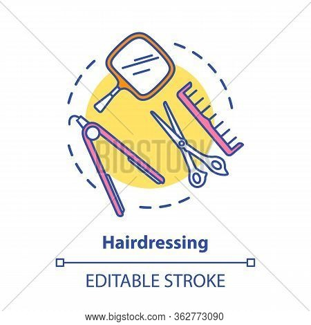 Hairdressing Concept Icon. Hairdresser Salon Professional Equipment, Hairstylist Tools Idea Thin Lin