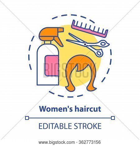Women Haircut Concept Icon. Hair Care And Treatment Products. Hairstyling Idea Thin Line Illustratio