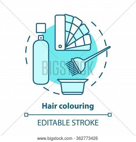 Hair Colouring Blue Concept Icon. Hair Highlighting And Dyeing, Hairdo. Hairstyling Idea Thin Line I