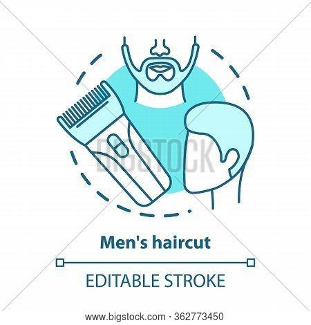 Men Haircut Blue Concept Icon. Barbershop Idea Thin Line Illustration. Hair Care And Treatment. Hair