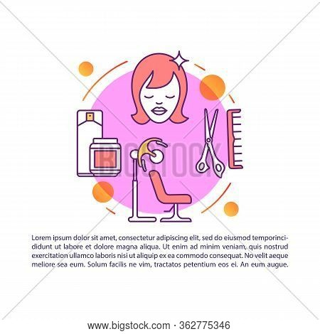 Hairdresser Services Article Page Vector Template. Haircut, Hairdo. Brochure, Magazine, Booklet Desi