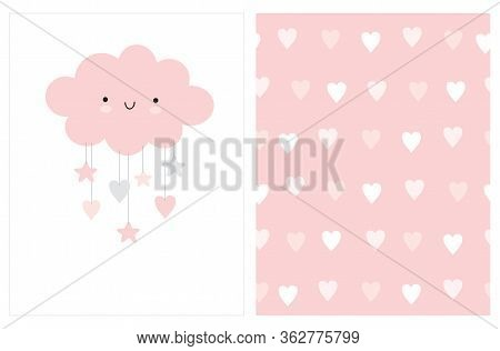 Lovely Baby Shower Vector Card With Pink Fluffy Smiling Cloud With Hanging Stars And Hearts. Cute Se