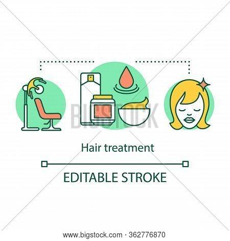 Hair Treatment Concept Icon. Beauty Service Idea Thin Line Illustration. Hair Salon Procedure. Kerat