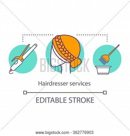 Hairdresser Services Concept Icon. Beauty Service Idea Thin Line Illustration. Hair Salon Procedure.