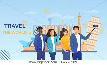 Travelling Concept With Two Multiethnic Couples Taking A Selfie Against The Eiffel Tower, Coliseum A